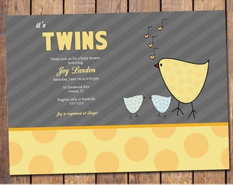Twins baby shower invitation, yellow bird gender neutral, digital, printable file (item60)
