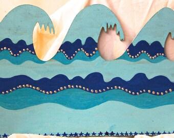 "Three Hawaiian Waves OOAK painting on reclaimed wood sanded smooth.12 3/4""x8 1/4""x1/4"" sides. Home Decor. Beach House Decor."