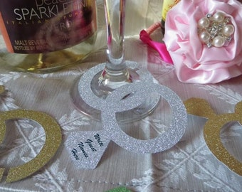 Double Wedding Ring Wine Glass Charm / Tags / Labels - Use at Bridal Showers, Weddings & Engagement Party - 12 Tags in your color choice