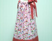 Girls Pillowcase Dress Rainbows Clouds Red Polka Dot - Size 6-12 month, 12-18 month, 18 - 24 month, 2 / 3, 4 / 5, 6 / 7, 8 / 9