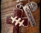 Football jewelry, football necklace, football charm, football, football mom, team mom gift, polymer clay football, football cross