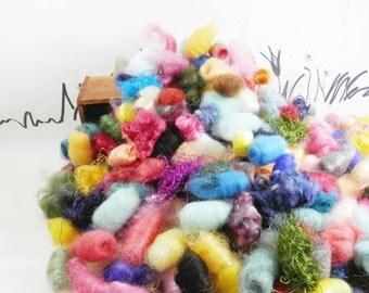 Wooly Bun Fancy Fiber Crumbs, roving pieces for needle felting accents, 1 ounce, fiber sampler, alpaca, mohair, firestar, felting supplies
