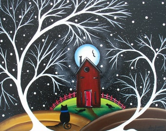 Needlepoint Canvas 14 or 18 count, By Lori Everett, Tree Art, Black Cats, Kitty Art, Dark Sky's, Whimsical Art, Folk Art, Black Birds