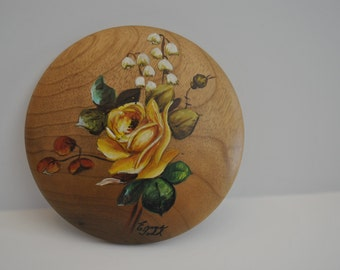 ROSE WOOD Painting with Lily of the Valley Myrtlewood  Coos Bay Oregon Signed