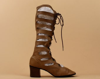 60s Vtg Taupe LEATHER Cut Out Knee High Boot /Go Go Lace Up MOD GLADIATOR Couture Boho Chunky Platform / 7- 7.5  / Eu 37.5 - 38