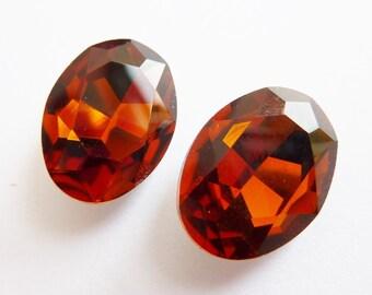 2 glass jewels, 18x13mm, topas, oval