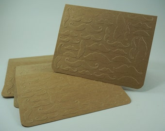 Mustache Card, Mustache Blank Cards, Embossed Cards, Mustache Embossed Cards, Moustache Cards, Blank Mustache Memo Card, Blank Cards for Men