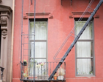 New York City Fire Escape Window Building Architecture Brooklyn NY Photography New York Homes Rustic Industrial Red Home Decor