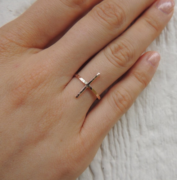 Rose Gold Cross Ring Hammered, Organic, Rustic and Simple, Midi Cross ring, Sideways cross ring, Gold Cross Ring, Silver Cross Ring