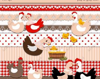 Chicken Clip Art  -  Digital clipart Chickens, Digital  Scrapbook , Easter Chicken , Instant Download