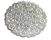 50 Silver 12 inch paper doilies, silver foil doilies, metallic doiles, wedding trim, paper craft trim
