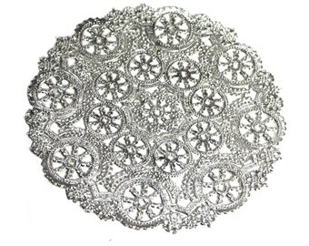 "25 Silver 12""  paper doilies, round doilies, metallic paper doilies, invitation trim, wedding trim, party trim, paper craft"