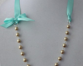 Gold Pearl and Turquoise Ribbon Bow Necklace