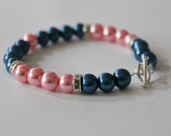 Navy and Pink Pearl and Rhinestone Bracelet