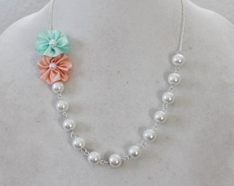 White Pearl with Peach and Mint Green Flower Necklace