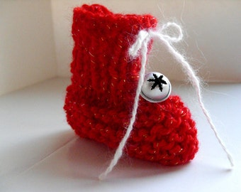 Knit Christmas Stocking Ornament - Baby's 1st Christmas, red booties, white booties, blue, snowflake bell, silver bell, Christmas decoration