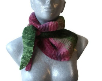 Hand Knitted Scarf Bactus Triangle Shaped Pink Green  Shades Extra Soft Wool Acrylic