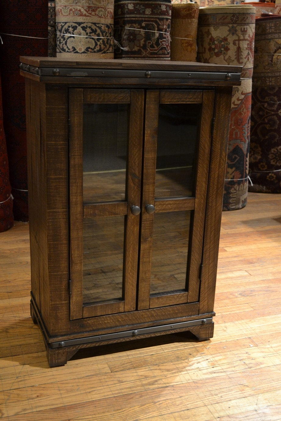 Rustic reclaimed solid wood curio cabinet by oakparkantiques