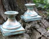 Aqua Turquoise Gold Hollywood Regency Candleholders, Mid-Century PAIR Set