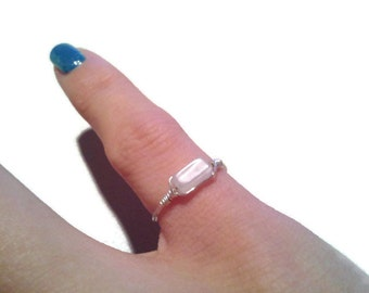 Delicate Rectangular white moonstone Ring Silver or gold plated