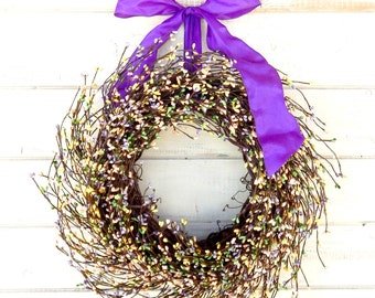 Spring Wreath-Easter Wreath-Baby Shower Wreath-Children's Bedroom Decor-PASTEL Berry Wreath-Spring Home Decor-Custom-Choose Scent and Ribbon