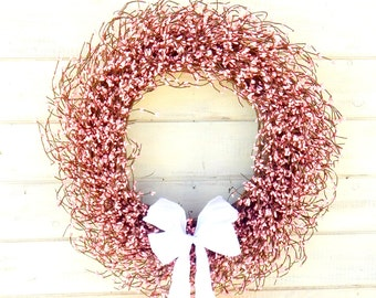 Valentine Wreath-Spring Door Wreath-Easter Wreath-LARGE PINK WEDDING Wreath-Shabby Chic Wedding-Baby Shower-Baby Nursery-Spring Home Decor
