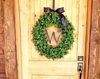 MONOGRAM BOXWOOD Wreath-Large Boxwood Wreath-Spring Door Wreath-Winter Door Wreath-Year Round Wreath-Outdoor Wreath-Scented Vanilla Cinnamon