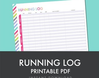 Running Log - Printable PDF - Planner Printable - Fitness - Health