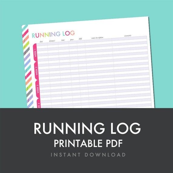 running log printable pdf planner printable fitness