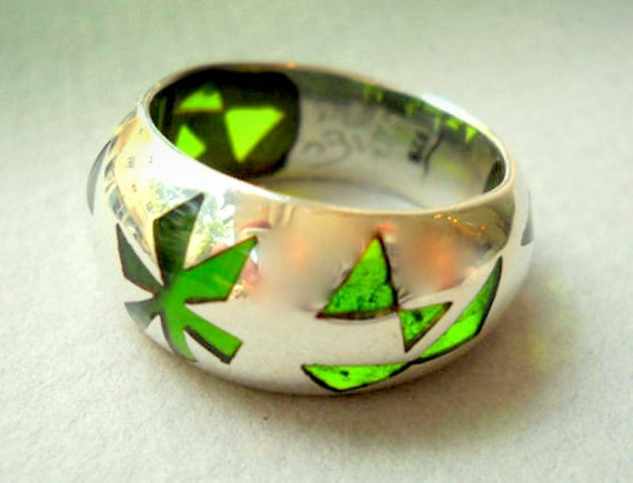 Green Papillon RING.Silver Art.