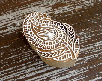 Paisley Flower Stamp, Handmade Indian Printing Block, Hand Carved Wood Block Stamp, Wooden Textile Clay Pottery Ceramic Henna Stamp, India