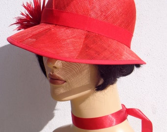 Flapper hat, red sinamay cloche, sun hat, wedding hat, retro, 1920s vintage inspired, garden party, bridesmaid hat, great Gatsby