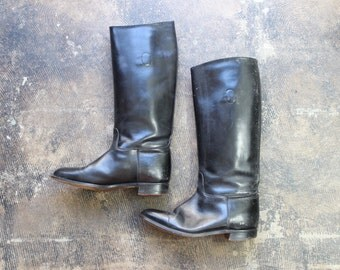 Size 8 Riding Boots / Black Leather Equestrian Shoes / Vintage Women's Tall Boots