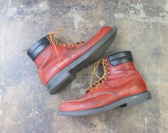 Size 16 D Men's Vintage Red Wing Boots / Moc Toe Hiker / Men's Work Boot / Shoes