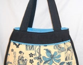 "Hand-Made Fabric Purse, Alexander Henry ""Zen Tattoo"" Fabric, Swoon Patterns, Ethel Bag,  Asian Pattern"