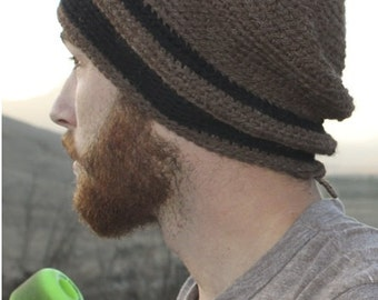 Men's Hat - Alpaca Wool Cap Crochet Slouch for Hiking Biking Skiing Skating Brown with Black Stripes (Ready to Ship)