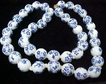 "Chinese Porcelain Beads Necklace, Handknotted, 12MM, 22"", White w/Blue Flowers, Magnet Clasp"