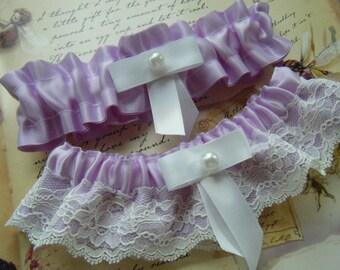Purple Satin with White Lace Garter Set