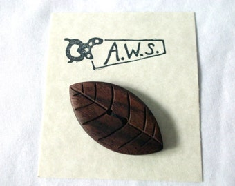 Large Wooden Button Black Walnut