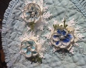OOAK Snowflake Flower Christmas Ornaments 3/pkg