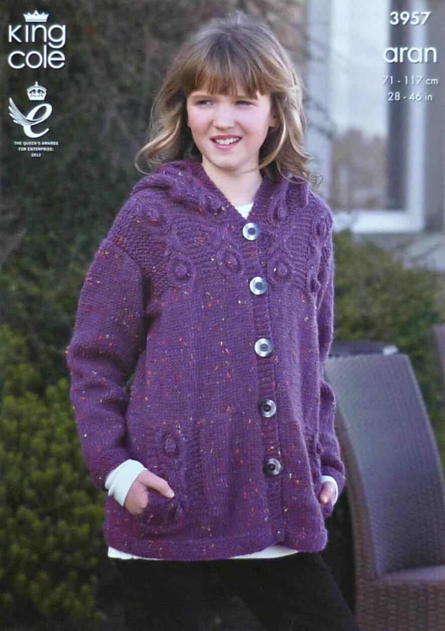 Knitting Pattern Ladies Hooded Jacket : Girls Knitting Pattern K3957 Childrens/Ladies Long Sleeve ...