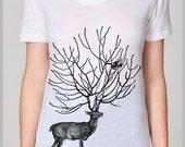 Women's Jeans T Shirt Outfit Deer Bird American Apparel Tee S, M, L, XL 8 COLORS school summer spring nature