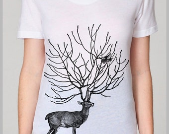 Women's Jeans T Shirt Outfit Deer Bird American Apparel Tee S, M, L, XL 8 COLORS school summer spring nature