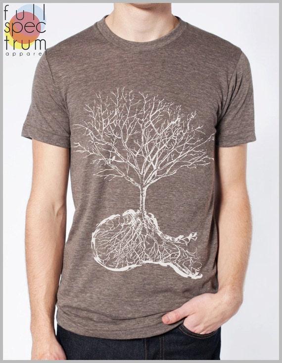 DUST - Tree Roots Skull American Apparel T shirt Mens Womens Tee Full Spectrum Apparel - White Ink