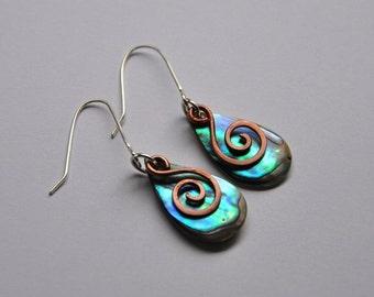 Paua shell & copper koru earrings~ New Zealand abalone