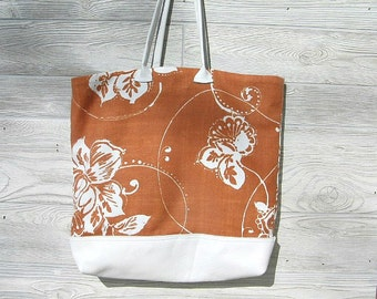 Tote Bag Leather and Canvas / Leather Bottom, Laptop Bag  Ready to Ship  Beach Bag