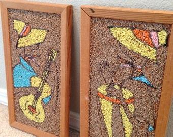 Vintage GRAVEL ART calypso pair of pictures Mosaic