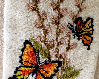 Vintage Butterfly Latch Hook Rug yellow orange cool retro