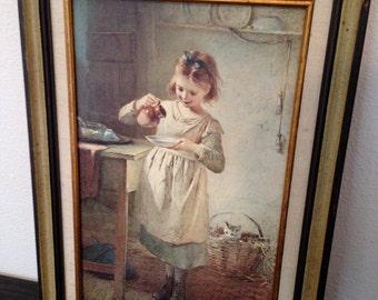 Girl feeding kitten framed in original frame cottage chic picture