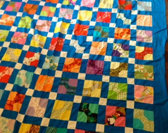 Patch work QUILT top  blue bow tie design cottage chic  summer pattern LARGE